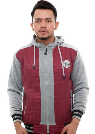 Maroon color Outerwear . X-Urband Official - Sweater Hoodie Pria (Maroon) A056 -