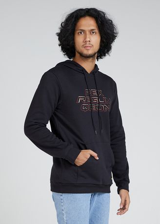 Hitam color Sweater . Hoodie Space Invader -