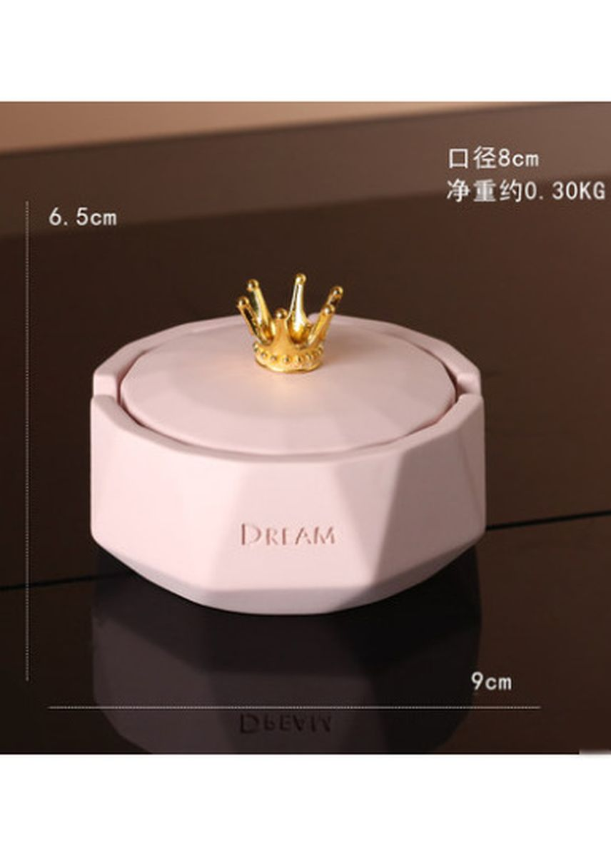 Pink color Home Decor . Small Crown Ashtray With Lid Creative Cute Home Decoration -