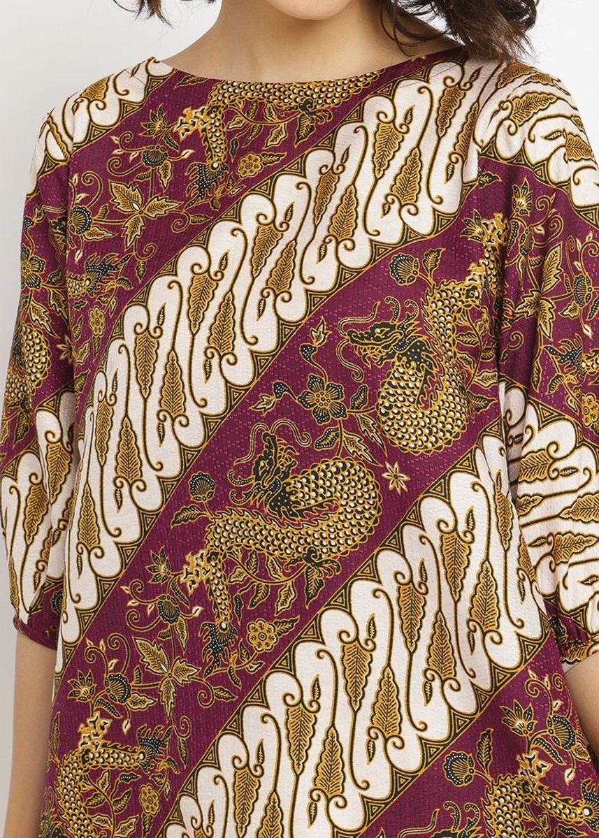 Ungu color Atasan & Tunik . PURICIA BATIK DRESS DEWAYANI -