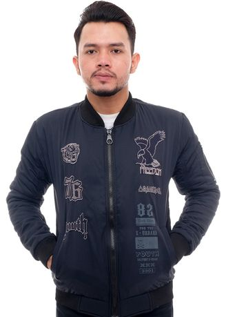 Navy color Outerwear . X-Urband Official - Jaket Bomber Pria (Navy) A060 -