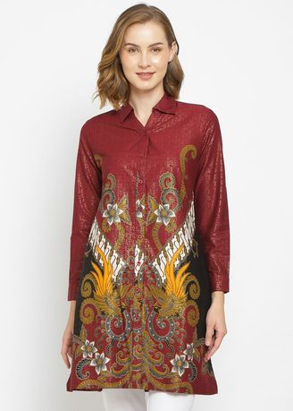 Merah color Atasan & Tunik . PURICIA BATIK DRESS JENNITRA -