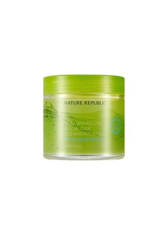 No Color color Toner & Cleanser . NATURE REPUBLIC Jeju Carbonated All-In-One Cleansing Pad - 60 Sheets -