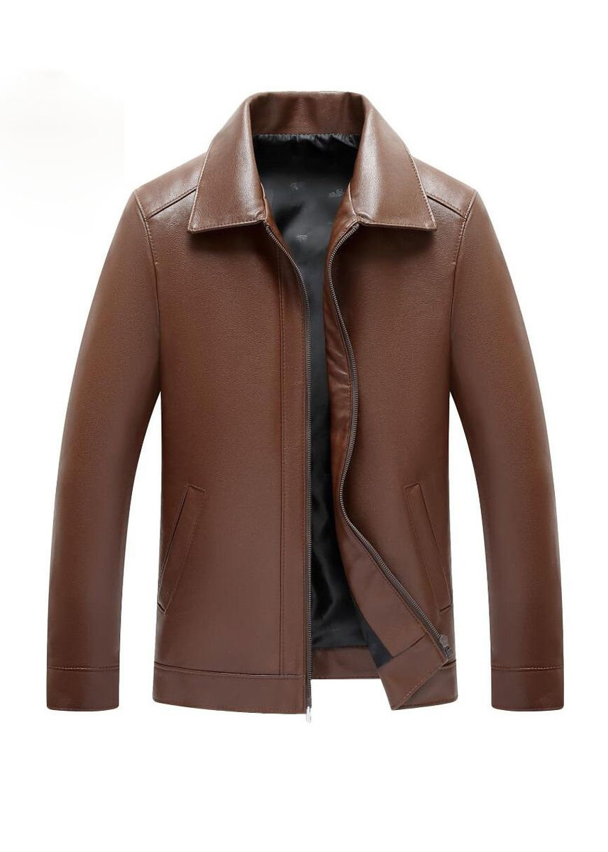 Brown color Jackets . Men's Business Casual Zipper Pu Leather Jacket -