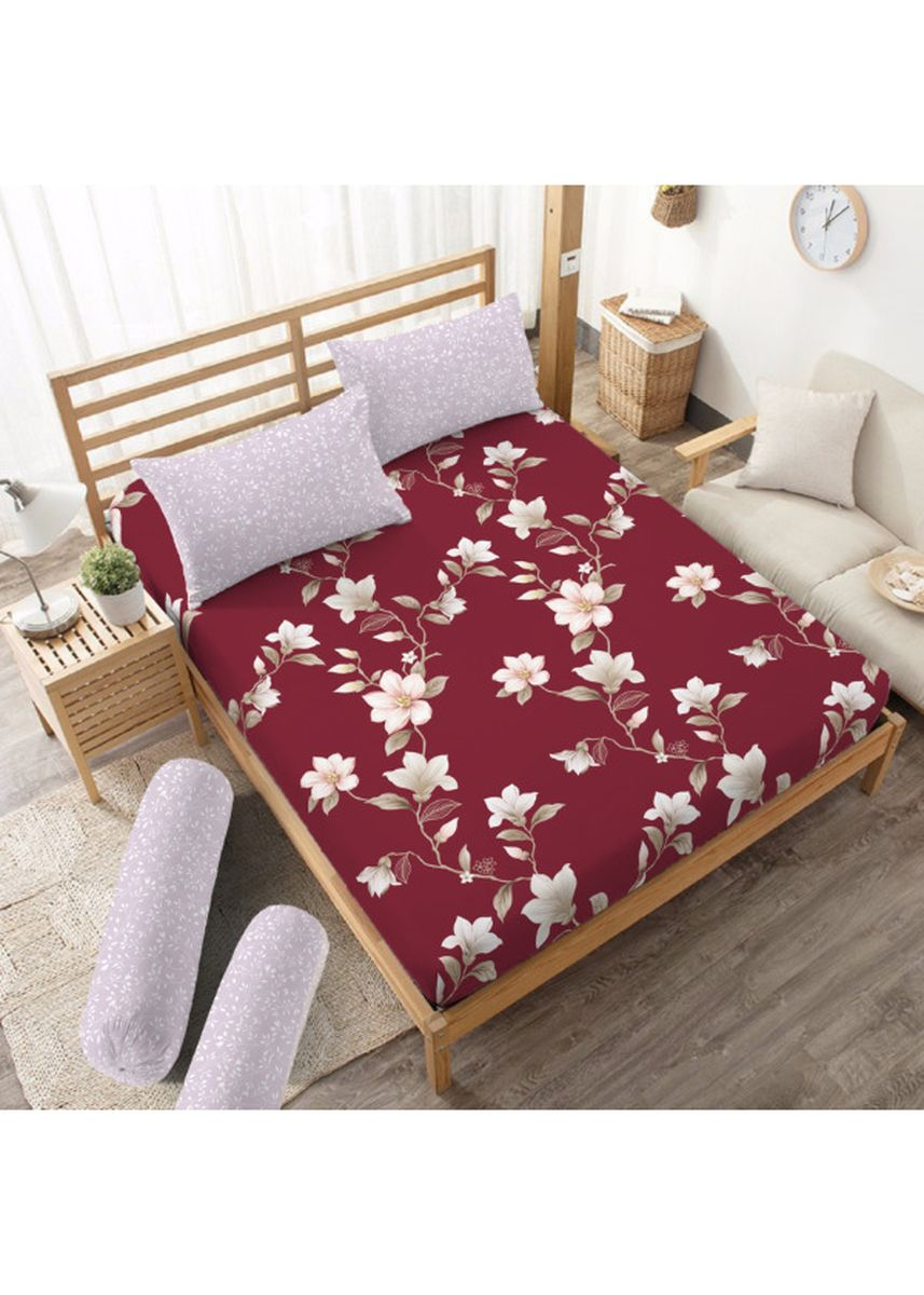 Red color Bedroom . Sprei Queen 160 Nadine Kintakun Dluxe Microfiber (5in1) 20 cm -