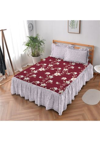 Red color Bedroom . Sprei Rumbai 180 Nadine Kintakun Dluxe Microfiber (5in1) 39 cm -
