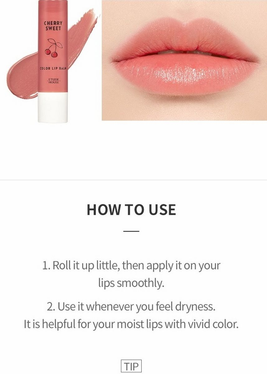 Pink color Lips . Etude House Cherry Vital Color Tinted Lip Balm - BE101 Dried Cherry -