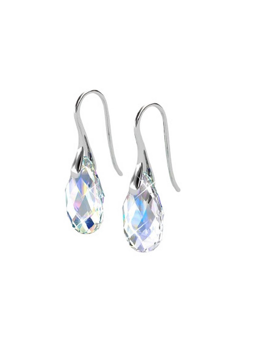 Silver color  . Raindrop Hook Earrings - Embellished with Crystals from Swarovski® -