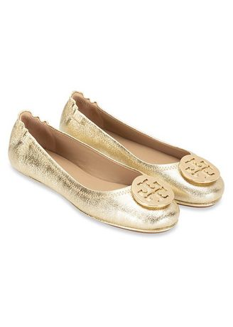 Gold color Flats . Tory Burch Flat Minnie Travel Shoes -