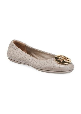 Grey color Flats . Tory Burch Flat Minnie Quilted Shoes -