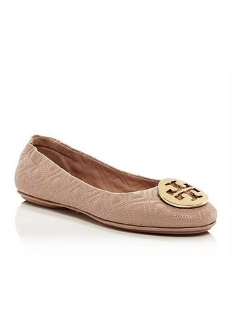 Multi color Sepatu Flat . Tory Burch Flat Minnie Quilted Shoes Nude Pink -