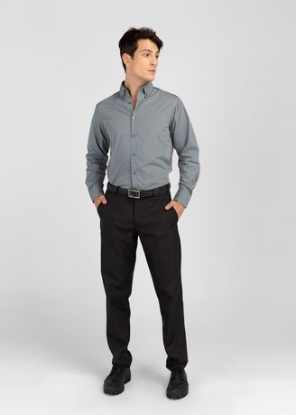 Formal Shirts . PROFILE By IDENTITY Executive Series Mens Corporate Long Sleeve Grey Shirt -