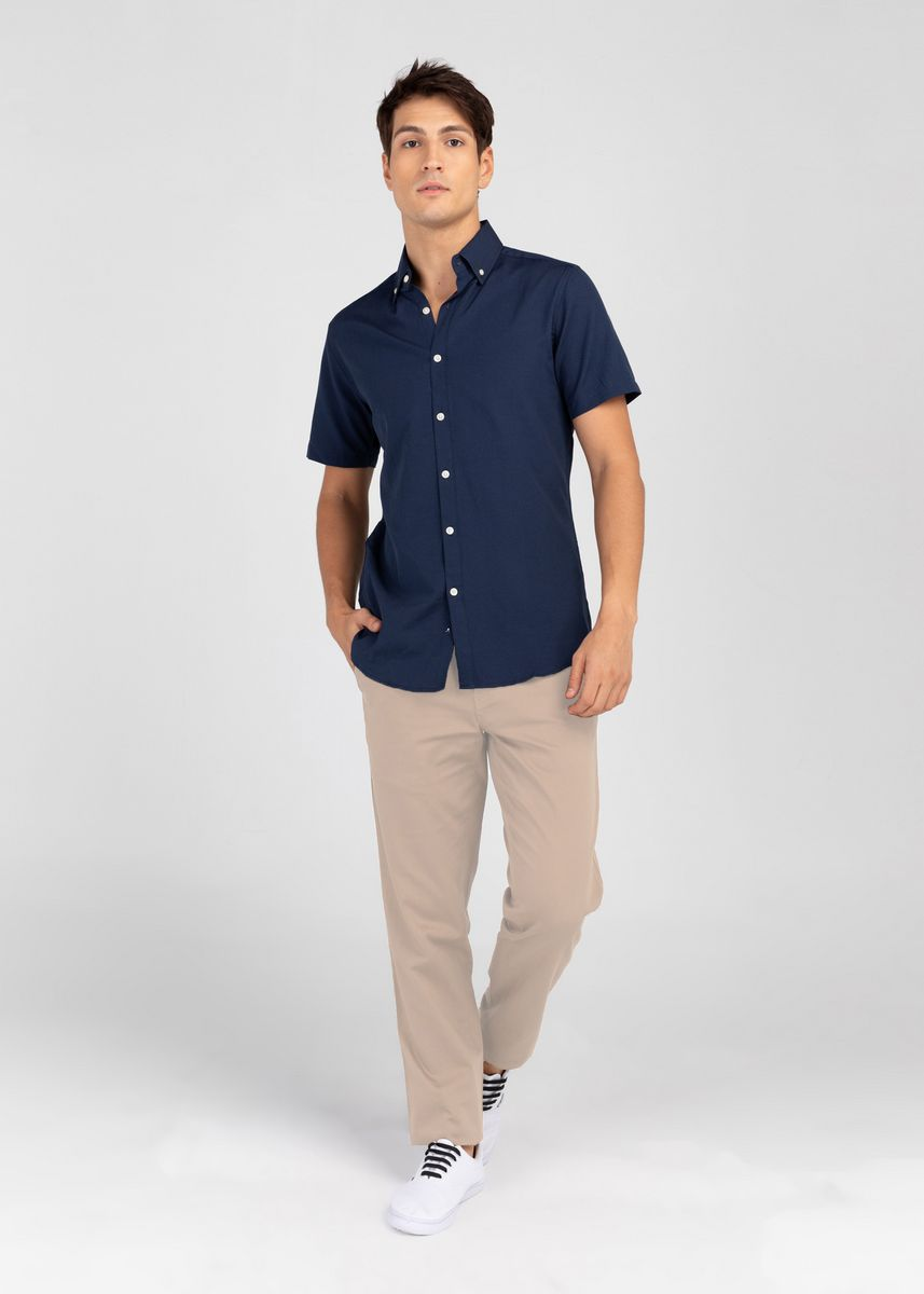 Navy color Casual Shirts . IDENTITY Oxford Series Men's Casual Wear Short Sleeve Navy Blue Shirt -