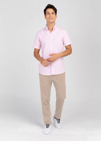 Pink color Casual Shirts . IDENTITY Oxford Series Men's Casual Wear Short Sleeve Light Pink Shirt -