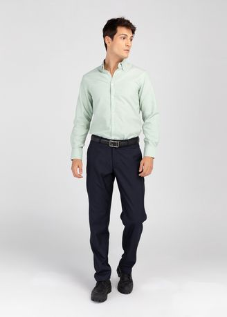 Green color Formal Shirts . IDENTITY Oxford Series Men's Casual Wear Long Sleeve Green Shirt -