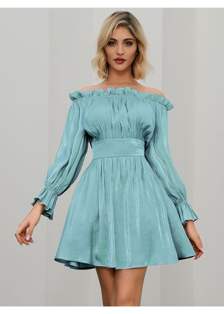 Blue color Dresses . Poet Sleeve Strapless Off Shoulder Girdle Pleated Casual Dress -