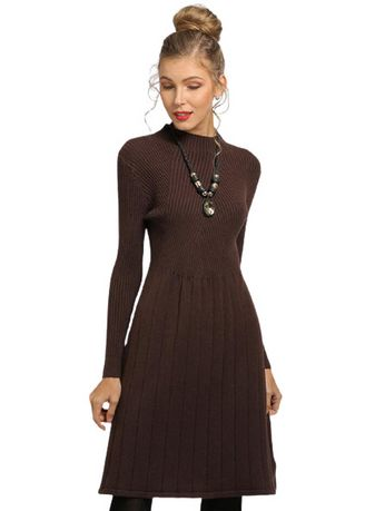Brown color Dresses . Women Solid Color Knitted Bottoming Dress -