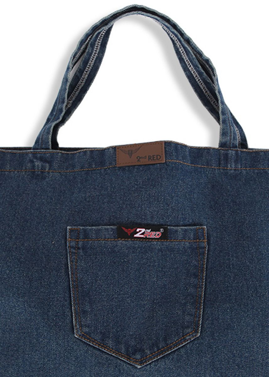 Biru color Tas Tote . 2nd Red Denim Tote Bag TB03 -