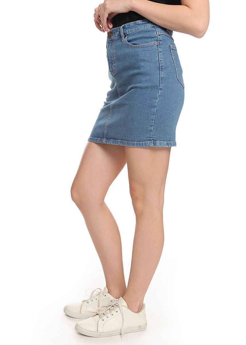 Light Blue color Skirts . 2nd Red Basic Stretch Denim Mini Skirt RJ2003 -