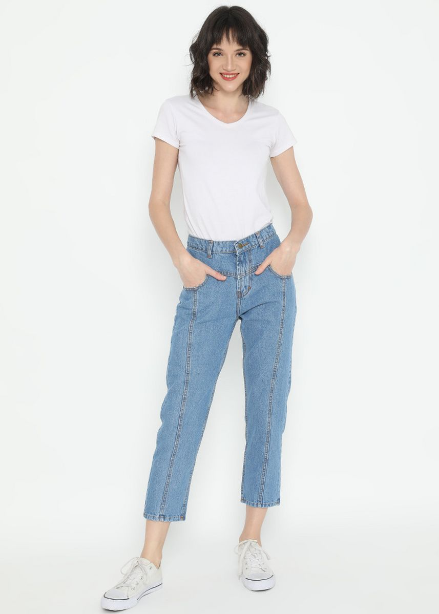 Blue color Jeans . Nuber  Sunflower Celana Panjang Wanita Jeans Boyfriend Blue Non Stretch -