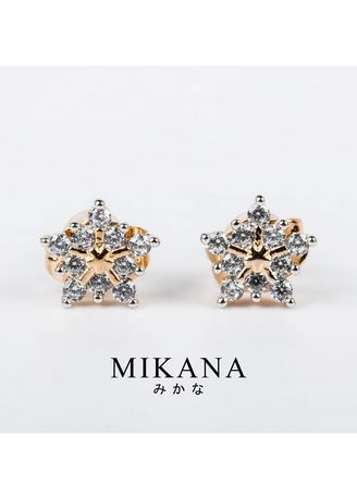 Gold color  . Mikana 18k Gold Plated Sakie Stud Earrings accessories for women -