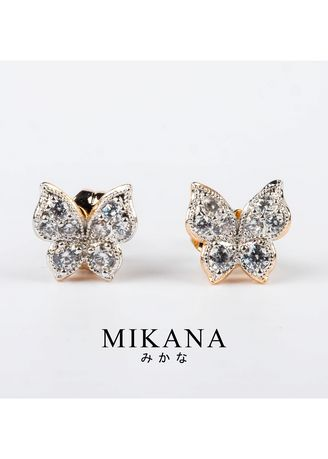 Gold color  . Mikana 18k Gold Plated Kamira Stud Earrings accessories for women -
