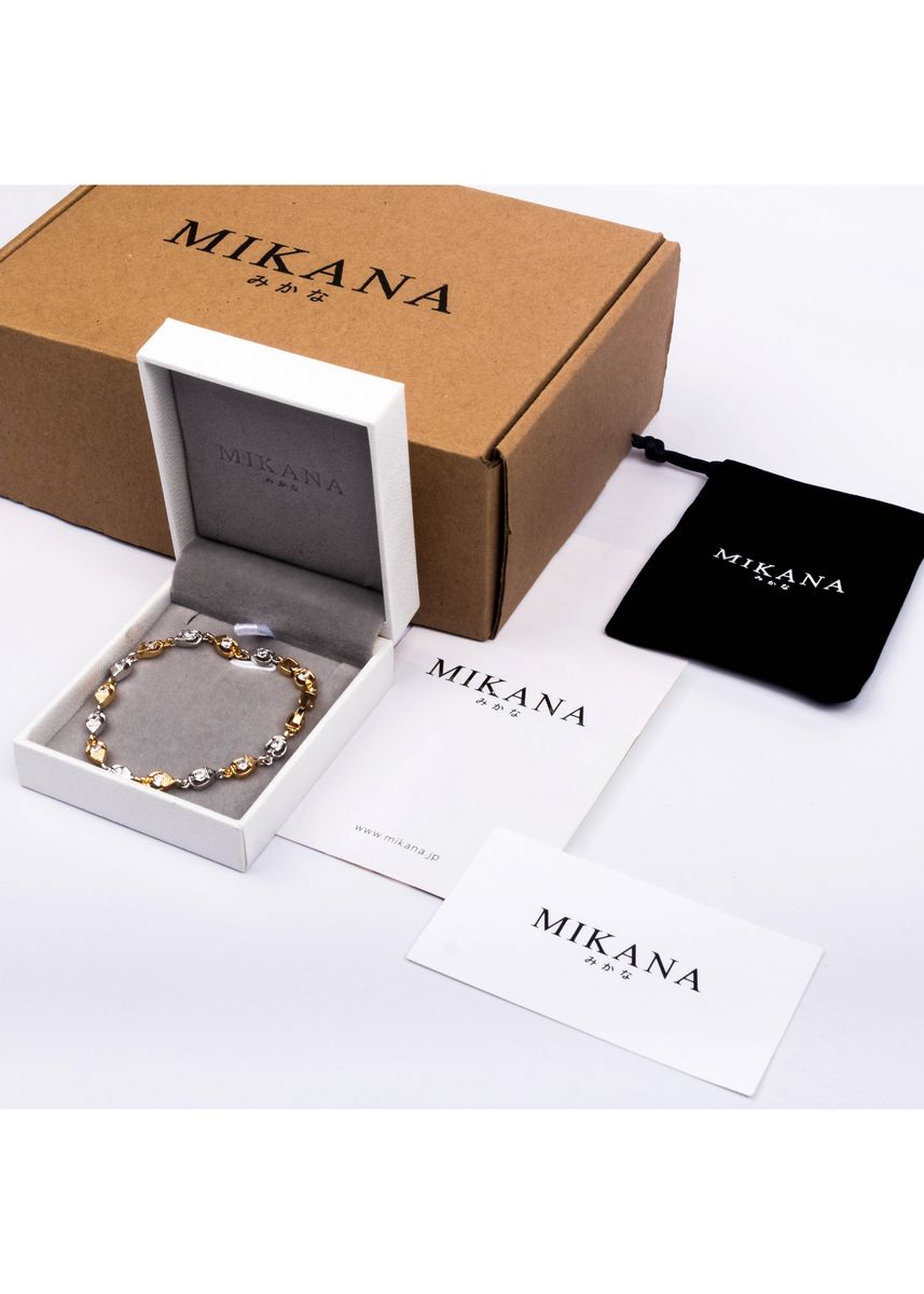 Gold color  . Mikana 18k Gold Plated Akahana Link Bracelet accessories for women -