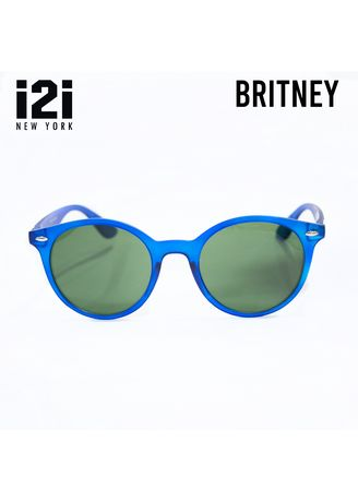 Blue color Sunglasses . i2i BRITNEY SP0320-329 Unisex Matte Clear Blue Frame / Gradient Ocean Green Lens Sunglasses -