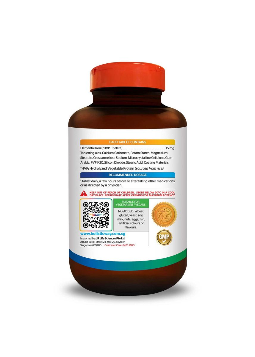 No Color color Beauty Supplement . Holistic Way Iron Tablets Chelated 15mg (100 tablets) -
