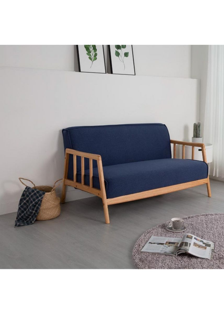 Biru color Sofa . Ebonia - Sofa Lupi - Bahan Fabric / Kain - Blue -