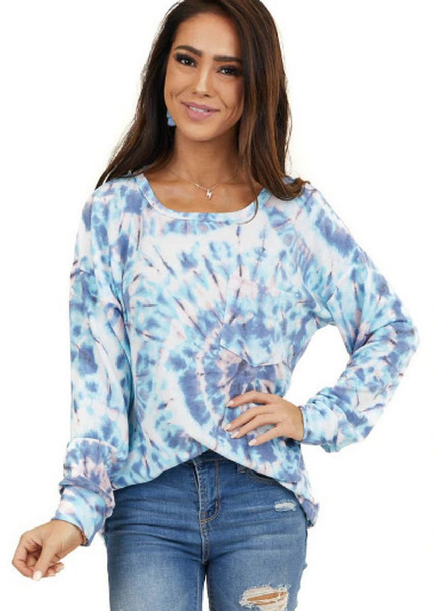 Blue color Tops and Tunics . Women Pocket Loose Long-sleeved Tie-dye T Shirt -