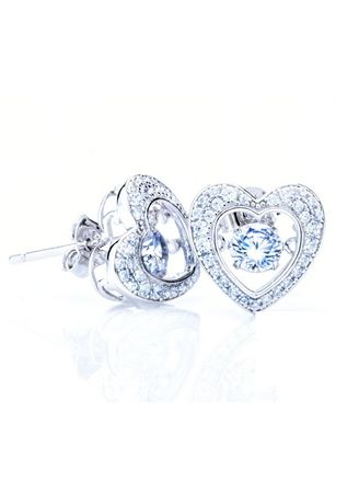 White color  . 925 Sterling Silver Dancing Stone Heart Shape Full Crystals Earrings -