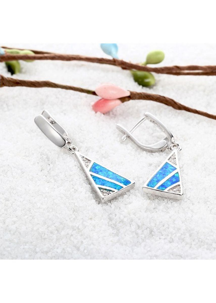 Light Blue color  . 925 Sterling Silver 18K White Gold Plating Dangle Blue Opal Crystals Earrings -