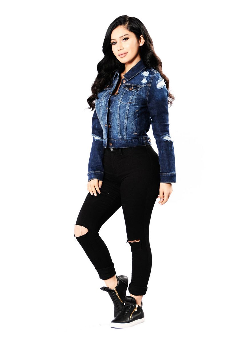 Blue color Jackets . Fashion Solid Casual Women's Ripped Denim Jacket -