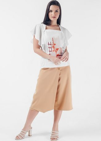 White color Tops and Tunics . Mysterious Elements Nava Short Sleeves Top -