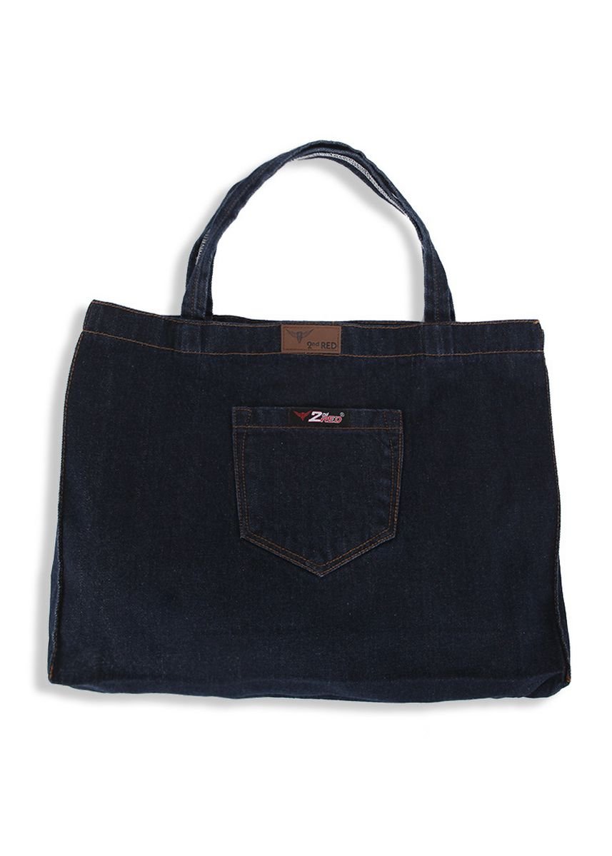 Hitam color Tas Jinjing . 2nd Red Denim Cambray Tote Bag CB01 -