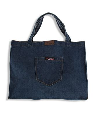 Biru Dongker color Tas Jinjing . 2nd Red Denim Cambray Tote Bag CB02 -