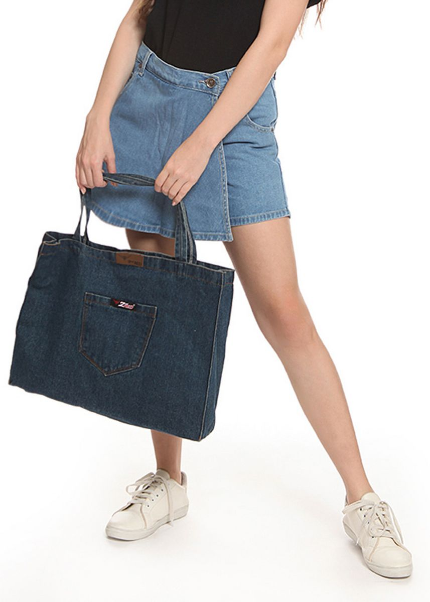 Blue color Hand Bags . 2nd Red Denim Cambray Tote Bag CB03 -