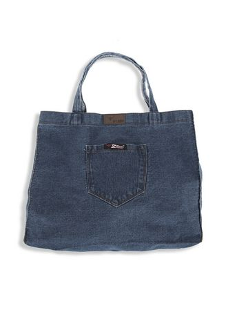 Biru color Tas Jinjing . 2nd Red Denim Cambray Tote Bag CB04 -
