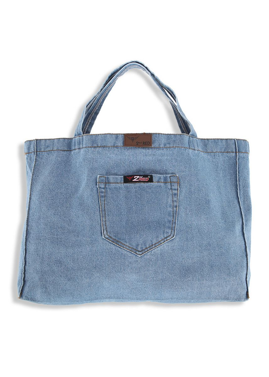 Light Blue color Hand Bags . 2nd Red Denim Cambray Tote Bag CB06 -
