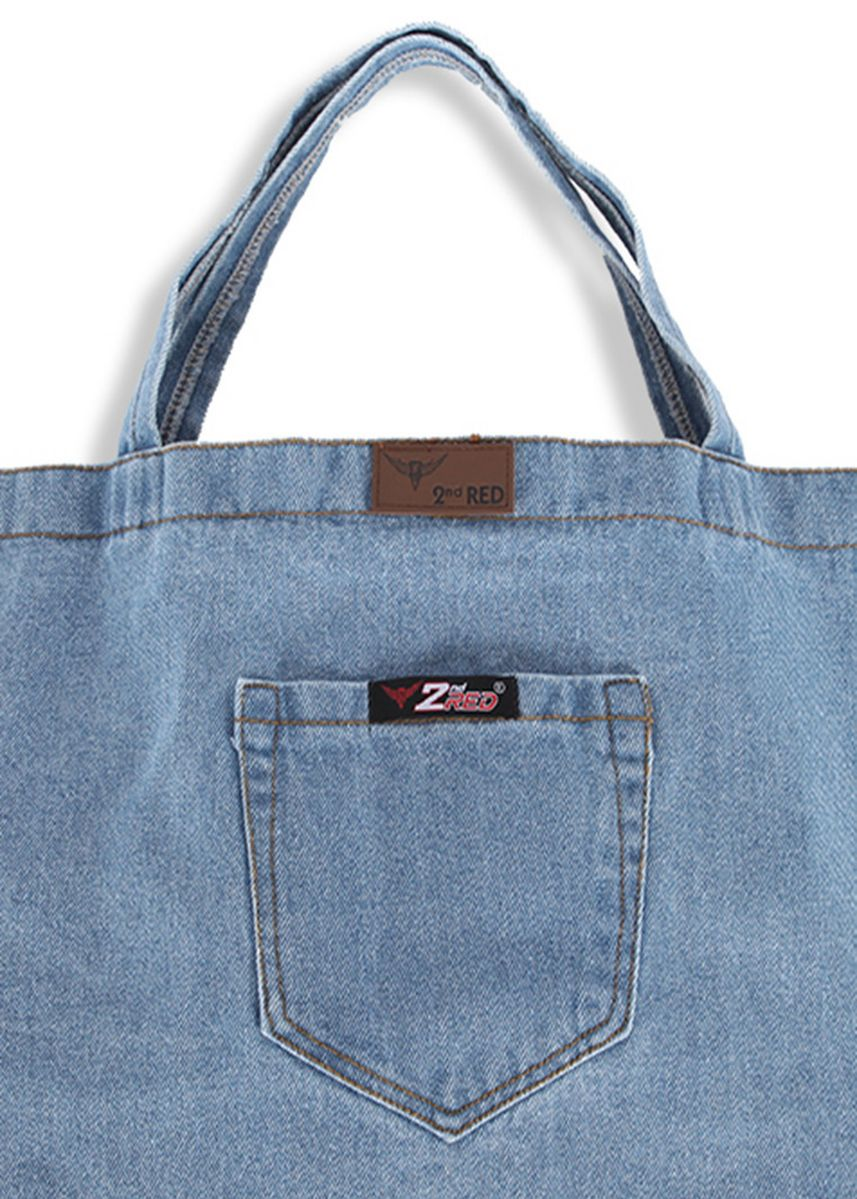 Biru Muda color Tas Jinjing . 2nd Red Denim Cambray Tote Bag CB06 -