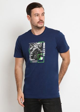 Blue color T-Shirts and Polos . POLICE Kaos Cotton Combed Pria -