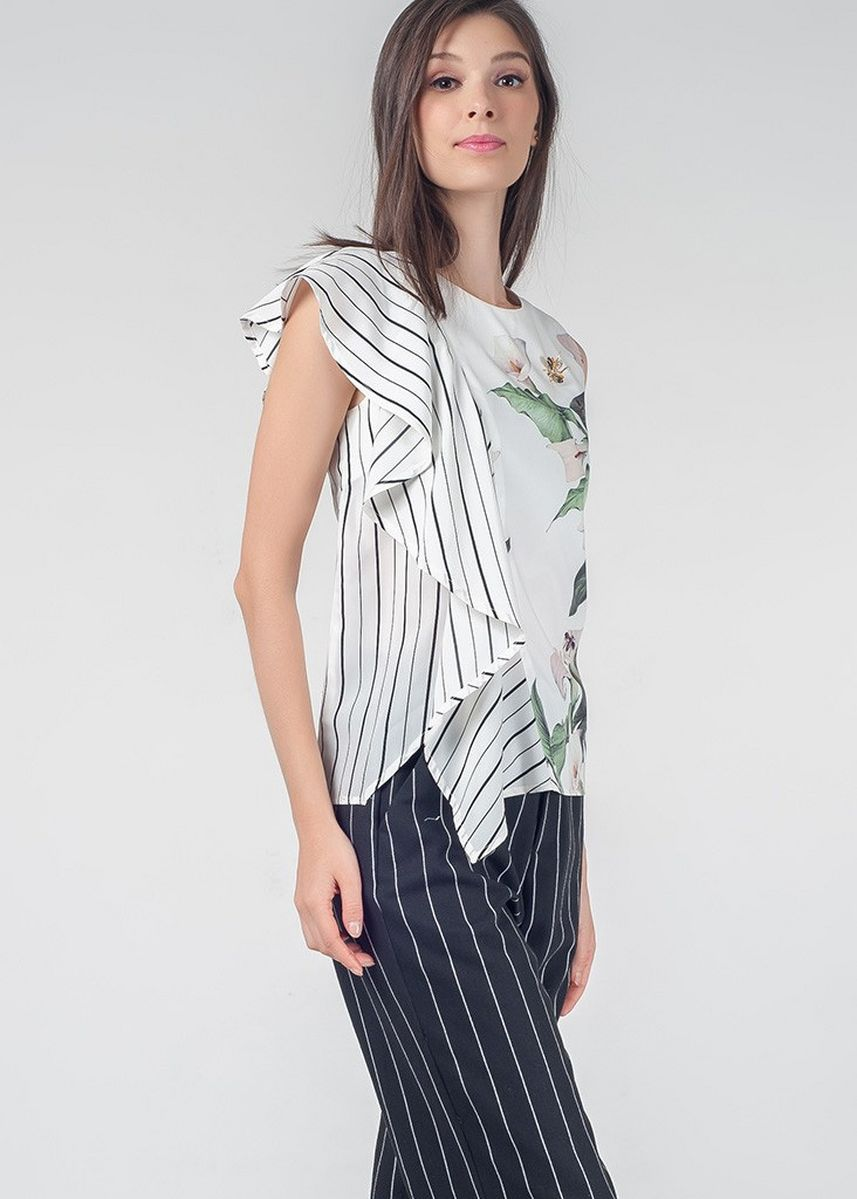 White color Tops and Tunics . Red Currant Quinn Sleeveless Top -