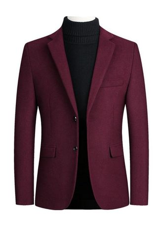Red color Blazers . Men's Solid Business Casual Blazers -