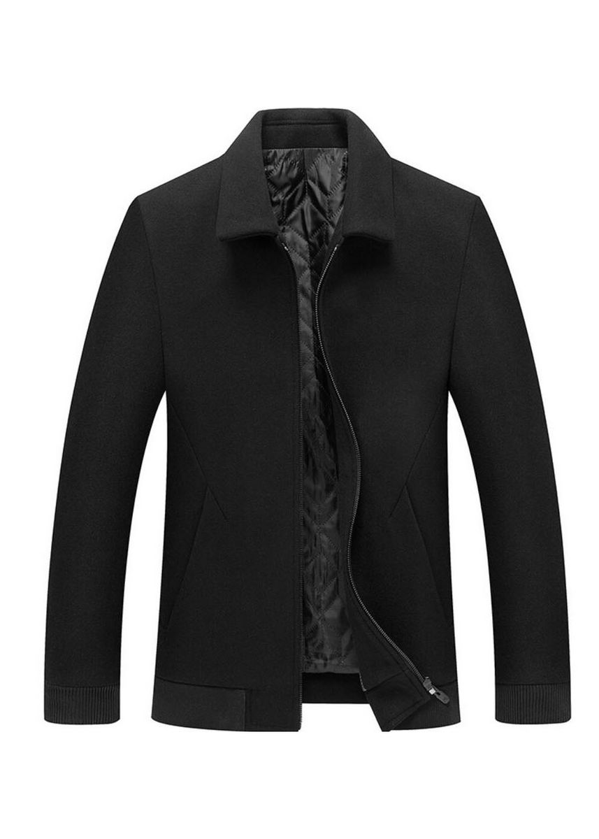 Black color Jackets . Men's Woolen Solid Casual Business Jacket -
