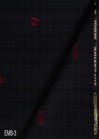 Black color Wool . Embroidery Jaquard No.3 -