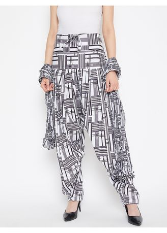 Black color Ethnic Bottomwear . The Pajama Factory Womens Cotton Printed Patiala with Duppata -