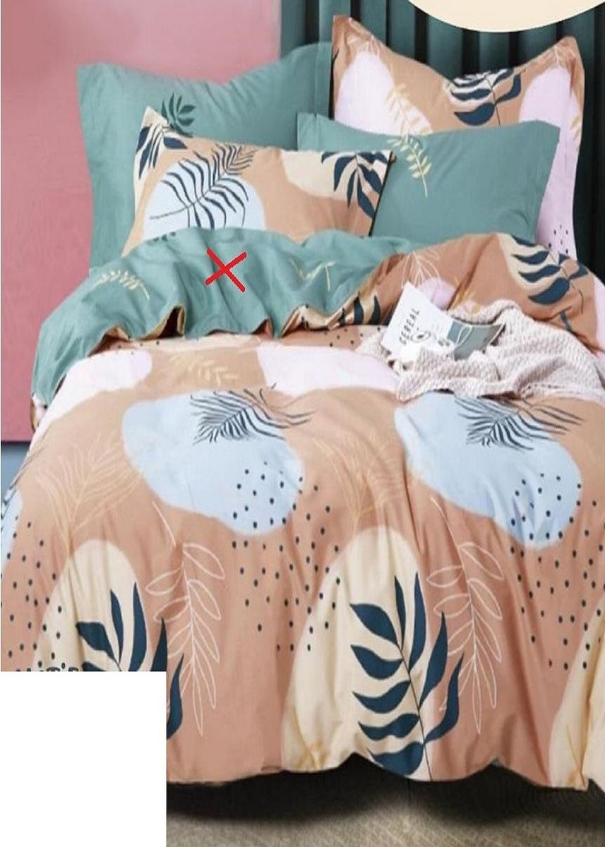Orange color Bedroom . Arjuna Set Bedcover Bahan Katun Motif Laluna Uk 200x200x20 -