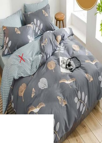 Grey color Bedroom . Arjuna Set Bedcover Bahan Katun Motif Garnetta Uk 140x200x20 -