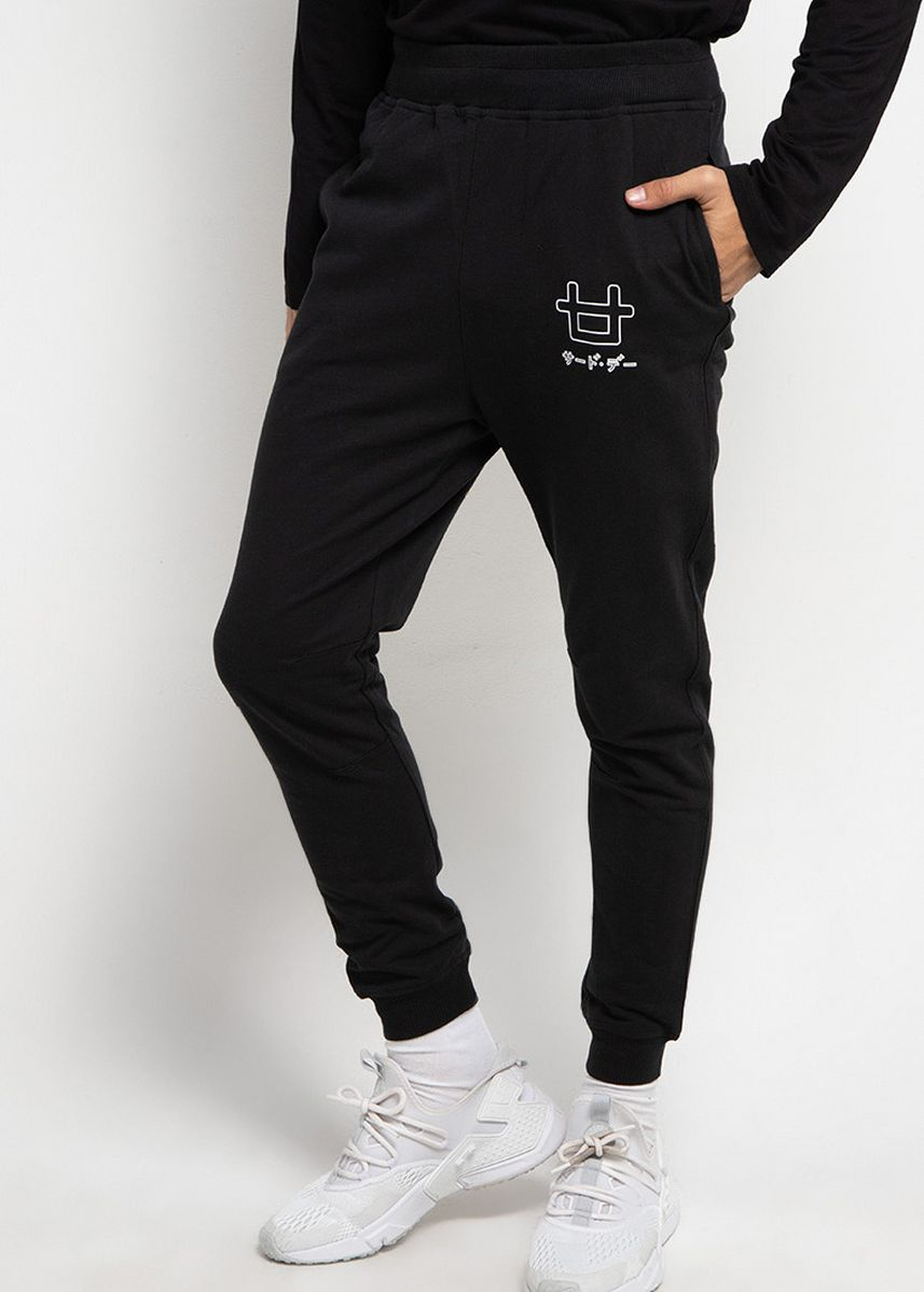 Black color Casual Trousers and Chinos . Third Day MB051 Celana jogger Panjang outline logo Hitam -